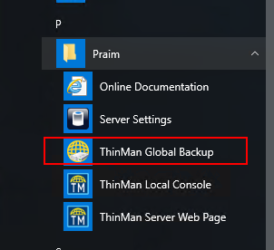 Launching ThinMan Global Backup