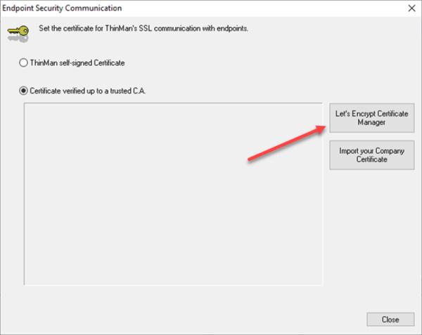 Let's encrypt certificate manager