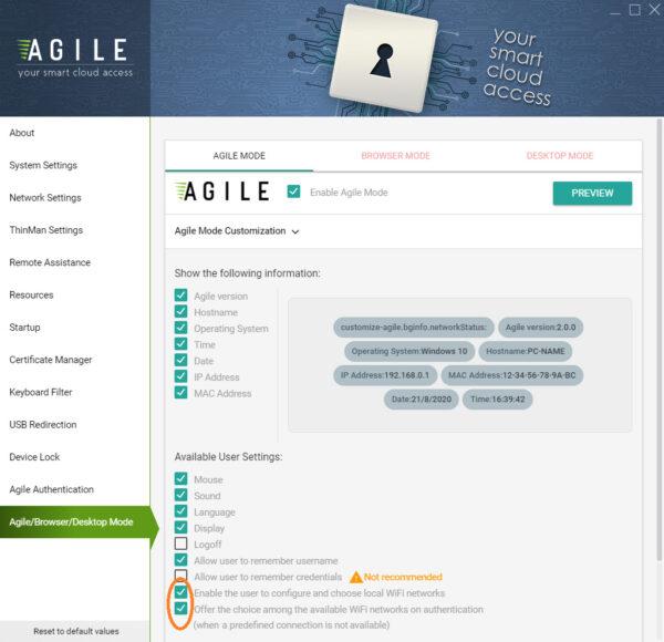 Agile Mode con WiFi scelta